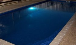 DIY POOLS MELBOURNE - FIBREGLASS POOLS - NIGHT PHOTO - THE LACHLAN -BERMUDA BLUE - 8 METRE